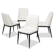 Baxton Studio Darcell Modern and Contemporary White Faux Leather Upholstered Dining Chair (Set of 4) Baxton Studio restaurant furniture, hotel furniture, commercial furniture, wholesale dining furniture, wholesale chair, classic dining chairs