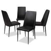 Baxton Studio Chandelle Modern and Contemporary Black Faux Leather Upholstered Dining Chair (Set of 4) Baxton Studio restaurant furniture, hotel furniture, commercial furniture, wholesale dining furniture, wholesale chair, classic dining chairs