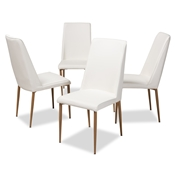 Baxton Studio Chandelle Modern and Contemporary White Faux Leather Upholstered Dining Chair (Set of 4) Baxton Studio restaurant furniture, hotel furniture, commercial furniture, wholesale dining furniture, wholesale chair, classic dining chairs