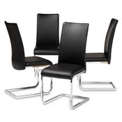 Baxton Studio Cyprien Modern and Contemporary Black Faux Leather Upholstered Dining Chair (Set of 4) Baxton Studio restaurant furniture, hotel furniture, commercial furniture, wholesale dining furniture, wholesale chair, classic dining chairs
