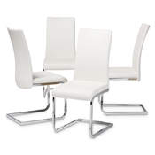 Baxton Studio Cyprien Modern and Contemporary White Faux Leather Upholstered Dining Chair (Set of 4) Baxton Studio restaurant furniture, hotel furniture, commercial furniture, wholesale dining furniture, wholesale chair, classic dining chairs