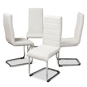 Baxton Studio Marlys Modern and Contemporary White Faux Leather Upholstered Dining Chair (Set of 4) Baxton Studio restaurant furniture, hotel furniture, commercial furniture, wholesale dining furniture, wholesale chair, classic dining chairs