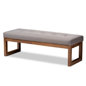 Baxton Studio Caramay Modern and Contemporary Grey Fabric Upholstered Walnut Brown Finished Wood Bench Baxton Studio restaurant furniture, hotel furniture, commercial furniture, wholesale bedroom furniture, wholesale bench, classic bench