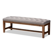 Baxton Studio Ainsley Modern and Contemporary Grey Fabric Upholstered Walnut Finished Solid Rubberwood Bench Baxton Studio restaurant furniture, hotel furniture, commercial furniture, wholesale bedroom furniture, wholesale bench, classic bench