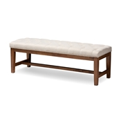 Baxton Studio Ainsley Modern and Contemporary Light Beige Fabric Upholstered Walnut Finished Solid Rubberwood Bench Baxton Studio restaurant furniture, hotel furniture, commercial furniture, wholesale bedroom furniture, wholesale bench, classic bench
