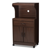Baxton Studio Tannis Modern and Contemporary Dark Walnut Finished Kitchen Cabinet