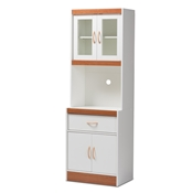 Baxton Studio Laurana Modern and Contemporary White and Cherry Finished Kitchen Cabinet and Hutch Baxton Studio restaurant furniture, hotel furniture, commercial furniture, wholesale kitchen furniture, wholesale cabinet, classic kitchen cabinet