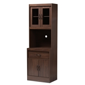 Baxton Studio Laurana Modern and Contemporary Dark Walnut Finished Kitchen Cabinet and Hutch Baxton Studio restaurant furniture, hotel furniture, commercial furniture, wholesale kitchen furniture, wholesale cabinet, classic kitchen cabinet