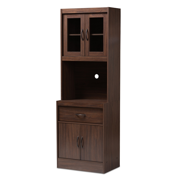 Baxton Studio Laurana Modern and Contemporary Dark Walnut Finished Kitchen Cabinet and Hutch