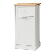 Baxton Studio Marcel Farmhouse and Coastal White and Oak Brown Finished Kitchen Cabinet Baxton Studio restaurant furniture, hotel furniture, commercial furniture, wholesale kitchen furniture, wholesale cabinet, classic kitchen cabinet