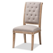 Baxton Studio Charmant French Provincial Beige Fabric Upholstered Weathered Oak Finished Wood Dining Chair Baxton Studio restaurant furniture, hotel furniture, commercial furniture, wholesale dining furniture, wholesale chair, classic dining chair
