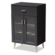 Baxton Studio Jonas Modern and Contemporary Dark Grey and Oak Brown Finished Kitchen Cabinet Baxton Studio restaurant furniture, hotel furniture, commercial furniture, wholesale kitchen furniture, wholesale cabinet, classic kitchen cabinet