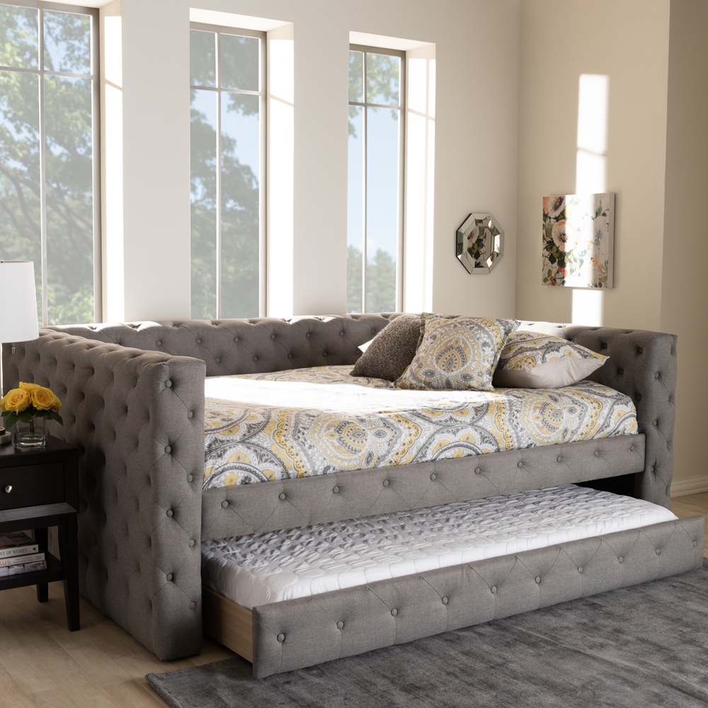 baxton studio anabella modern and contemporary grey fabric upholstered full size daybed with trundle. Black Bedroom Furniture Sets. Home Design Ideas