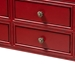 Baxton Studio Pomme Classic and Antique Red Finished Wood Bronze Finished Accents 6-Drawer Console Table - IEMIN18-Red-ST