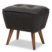 Baxton Studio Petronelle Mid-Century Modern Dark Grey Fabric Upholstered Walnut Brown Finished Wood Ottoman