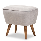 Baxton Studio Petronelle Mid-Century Modern Greyish Beige Fabric Upholstered Walnut Brown Finished Wood Ottoman