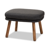 Baxton Studio Lovise Mid-Century Modern Dark Grey Fabric Upholstered Walnut Brown Finished Wood Ottoman