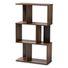 Baxton Studio Legende Modern and Contemporary Brown and Dark Grey Finished Display Bookcase