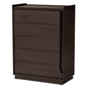 Baxton Studio Larsine Modern and Contemporary Brown Finished 5-Drawer Chest