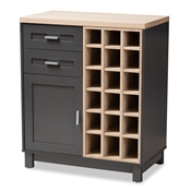Baxton Studio Maxime Modern and Contemporary Grey and Light Oak Finished Wine Cabinet