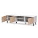 Baxton Studio Bastien Mid-Century Modern White and Light Oak 6-Shelf TV Stand - IESE TV9011WI-WH/HO