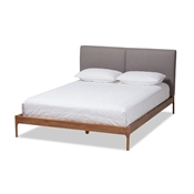 Baxton Studio Aveneil Mid-Century Modern Grey Fabric Upholstered Walnut Finished Full Size Platform Bed