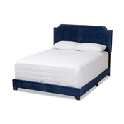Baxton Studio Darcy Luxe and Glamour Navy Velvet Upholstered King Size Bed