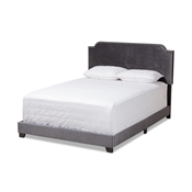 Baxton Studio Darcy Luxe and Glamour Dark Grey Velvet Upholstered King Size Bed