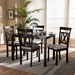 Baxton Studio Rosie Modern and Contemporary Espresso Brown Finished and Grey Fabric Upholstered 5-Piece Dining Set - IERH123C-Dark Brown/Grey Dining Set