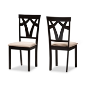 Baxton Studio Sylvia Modern and Contemporary Sand Fabric Upholstered and Espresso Brown Finished Dining Chair Set