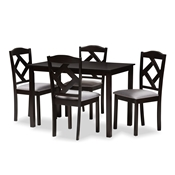 Baxton Studio Ruth Modern and Contemporary Espresso Brown Finished and Grey Fabric Upholstered 5-Piece Dining Set