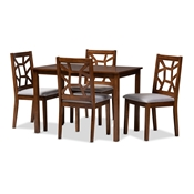 Baxton Studio Abilene Mid-Century Walnut Finished and Grey Fabric Upholstered 5-Piece Dining Set