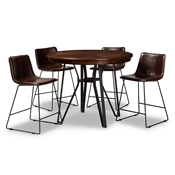 Baxton Studio Carvell Rustic and Industrial Dark Brown Faux Leather Upholstered 5-Piece Pub Set