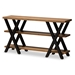 Baxton Studio Duchaine Vintage Rustic Industrial Style Wood and Dark Bronze-Finished Metal Console Table - IEYLX-2715