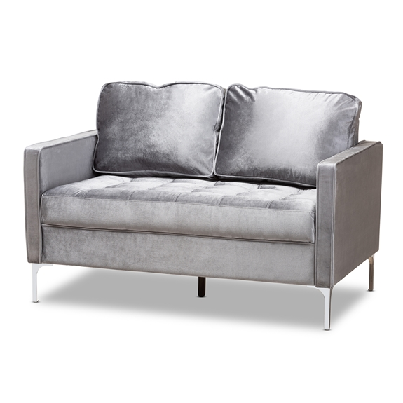 Baxton Studio Clara Modern and Contemporary Grey Velvet Fabric Upholstered 2-Seater Loveseat