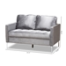 Baxton Studio Clara Modern and Contemporary Grey Velvet Fabric Upholstered 2-Seater Loveseat - IEClara-Grey-LS