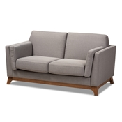 Baxton Studio Sava Mid-Century Modern Grey Fabric Upholstered Walnut Wood 2-Seater Loveseat