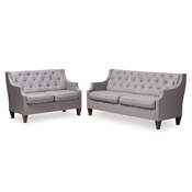 Baxton Studio Celine Modern and Contemporary Grey Fabric Upholstered Button-Tufted 2-Piece Living Room Set