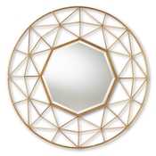 Baxton Studio Astra Modern and Contemporary Gold Finished Geometric Accent Wall Mirror
