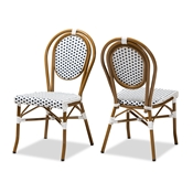 Baxton Studio Gauthier Classic French Indoor and Outdoor Navy and White Bamboo Style Bistro Stackable Dining Chair Set of 2