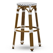Baxton Studio Joelle Classic French Indoor and Outdoor Navy and White Bamboo Style Stackable Bistro Bar Stool
