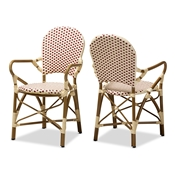 Baxton Studio Seva Classic French Indoor and Outdoor Beige and Red Bamboo Style Stackable Bistro Dining Chair Set of 2
