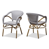 Baxton Studio Eliane Classic French Indoor and Outdoor Grey and White Bamboo Style Stackable Bistro Dining Chair Set of 2