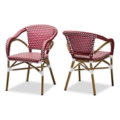 Baxton Studio Eliane Classic French Indoor and Outdoor Red and White Bamboo Style Stackable Bistro Dining Chair Set of 2