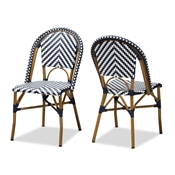 Baxton Studio Celie Classic French Indoor and Outdoor Grey and White Bamboo Style Stackable Bistro Dining Chair Set of 2