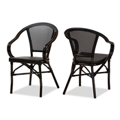 Baxton Studio Artus Classic French Indoor and Outdoor Black Bamboo Style Stackable Bistro Dining Chair Set of 2