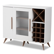Baxton Studio Pietro Mid-Century Modern White and Brown Finished Wine Cabinet