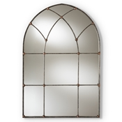 Baxton Studio Tova Vintage Farmhouse Antique Silver Finished Arched Window Accent Wall Mirror