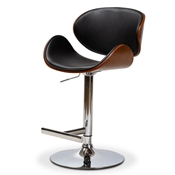 Baxton Studio Ambrosio Modern and Contemporary Black Faux Leather Upholstered Chrome-Finished Metal Adjustable Swivel Bar Stool