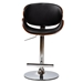 Baxton Studio Ambrosio Modern and Contemporary Black Faux Leather Upholstered Chrome-Finished Metal Adjustable Swivel Bar Stool - IET-4044-Walnut/Black-BS